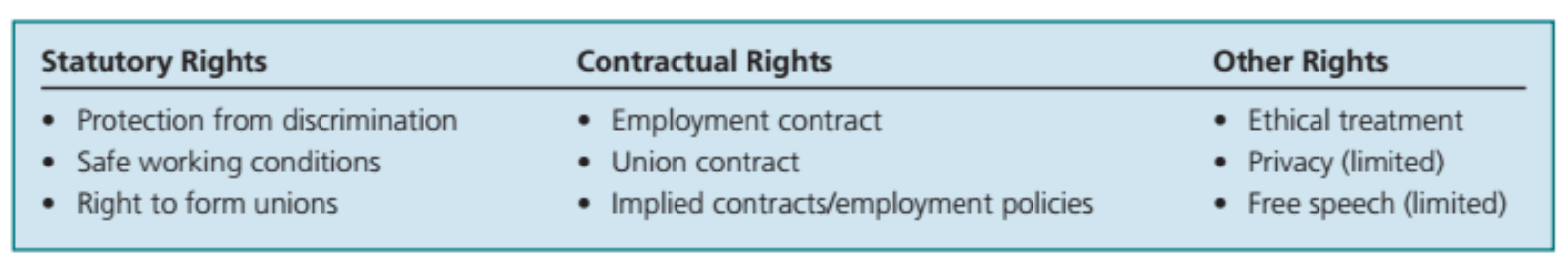 Categories of Employee Rights